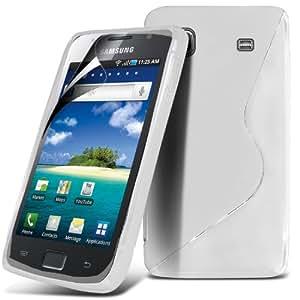 (Blanco) Samsung i9003 Galaxy SL Protector Gel onda S Línea Caso cubra la piel y Protector de pantalla LCD de Spyrox