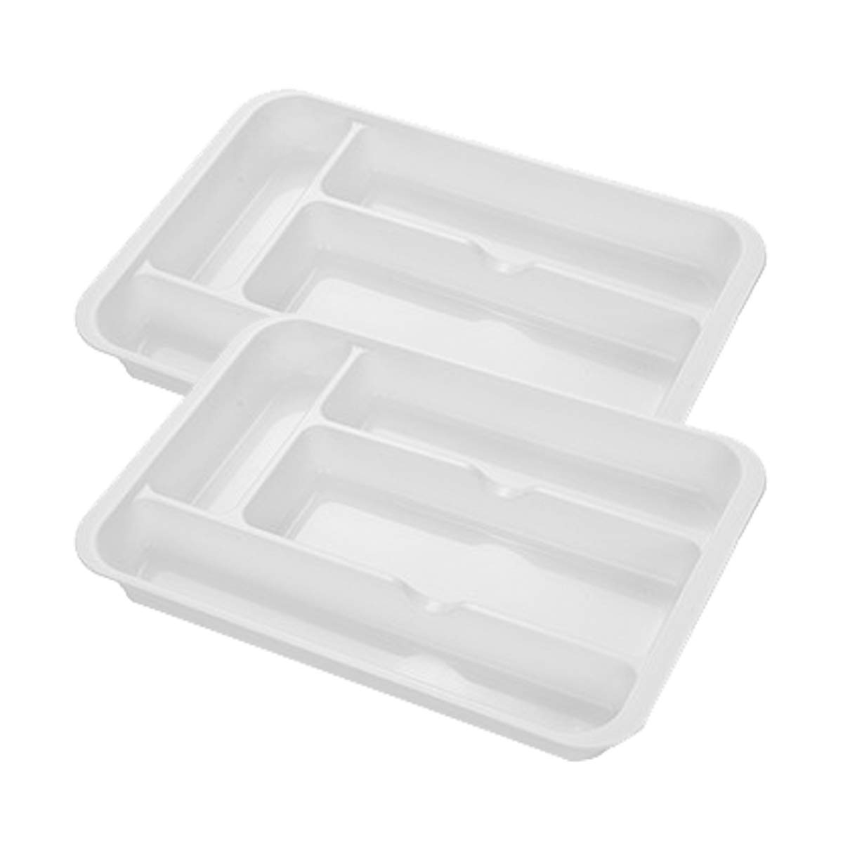 SHOW-WF Plastic Drawer Cutlery Organiser Tray with 4 Units Compartments, for Cooking Utensils/Craft Supplies/Jewellery/Gadgets,29.6x19.8x3.7cm, 2 Pieces,White