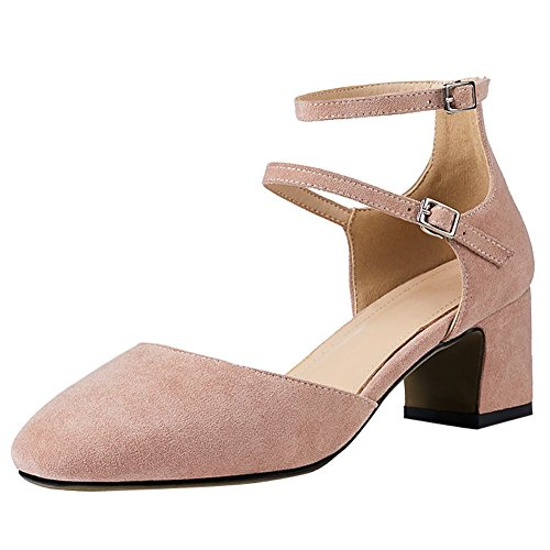 Mee Shoes Women's Comfortable Block Heel Buckle Court Shoes Pink