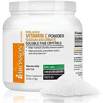 Bronson Vitamin C Non-Acidic Sodium Ascorbate Powder, Non-GMO,1 Kilo (2.2 lbs, 35.3 Ounces)