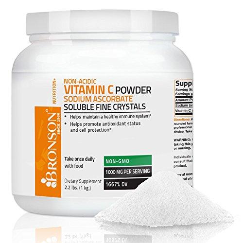 Bronson Vitamine C Non Acide, Ascorbate de Sodium en Poudre, Non-OGM,1 kg (2,2 lb, 35.3 Oz)
