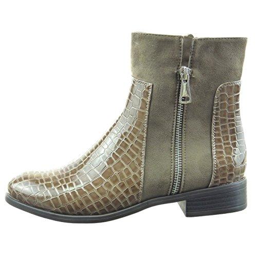 Sopily - Zapatillas de Moda Botines cavalier bimaterial A medio muslo mujer piel de serpiente cremallera Talón Tacón ancho 3 CM - Caqui