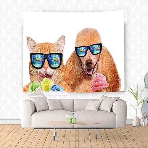 Nalahome Animal Cat Dog Pet with Sunglasses Eating Ice Cream Retro Cool Vintage Pop Artwork Image Multicolor Ethnic Decorative Tapestry Blanket Wall Art Design Handicrafts 36W x 24L - Sunglasses Phase Dragon