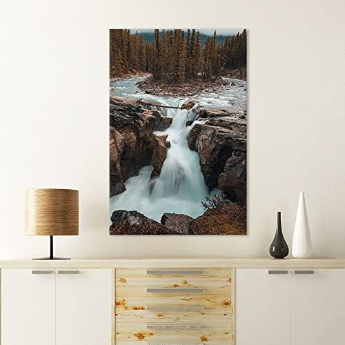 Landscape Cascading Waterfall on Rocks in The Forest