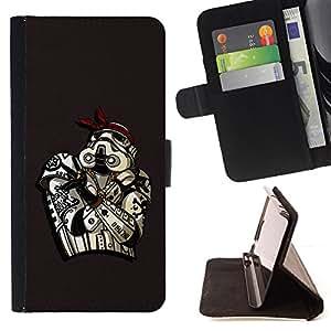 BullDog Case - FOR/Sony Xperia M2 / - / Gangster Star Trooper /- Monedero de cuero de la PU Llevar cubierta de la caja con el ID Credit Card Slots Flip funda de cuer