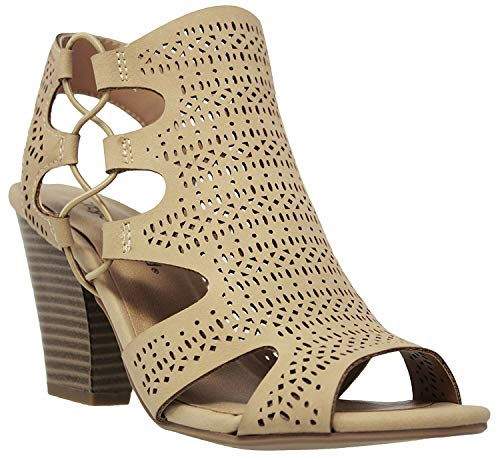 (City Classified Open Toe Perforated Lace up Elastic Side Stacked Chunky Heel Sandal, Natural, 7.5)