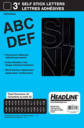 Headline Sign Stick-On Vinyl Letters, Black, 3-Inch (31311)