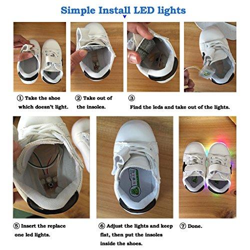 Highdas Niños Muchachos Muchachos LED Zapatos Colorido Luz Up Sneaker Trainers wings-rosado