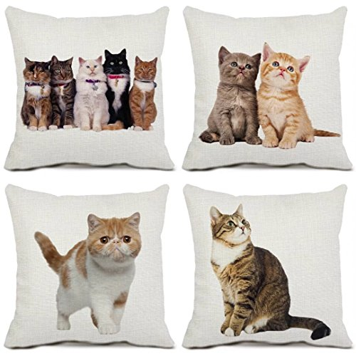4 Pack Cat Decorative Throw Pillow Cases Cotton Linen Square Cushion Covers Cat Couch Pillow Covers 16x16 - Outlet Designer Jersey New