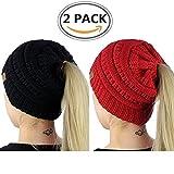 Kyпить ALIPAPA BeanieTail Womens Ponytail Messy Bun Beanie Solid Ribbed Hat Cap Of 2 Pack на Amazon.com