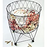 metal basket with wheels - Moda Home Vintage Reproduction Collapsible Rolling Metal Laundry Basket