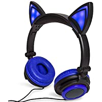 Blue Cat Ear Headphones Flashing Glowing Cosplay Kids Foldable Gaming Headsets Earphone with LED Flashing Light for iPhone 6S,Android Mobile Phone,PC Laptop Computer