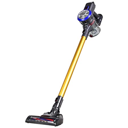 ShakeLady Dibea D18 Cordless Vacuum Cleaner, 2 in 1 Lightweight Wireless Stick Vacuum and Handheld Car Vacuum, 9000pa Powerful Suction and Rechargeable Gold