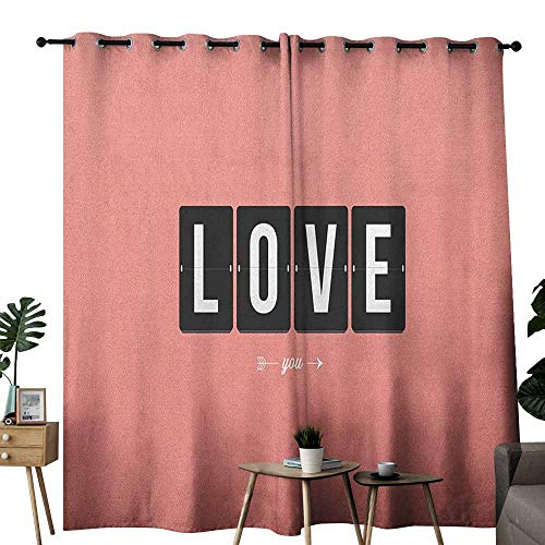 duommhome Love Printed Curtain Its Love Oclock Mechanical Clock Text with Arrow Motif Vintage Illustration Darkening and Thermal Insulating W84 x L108 Coral Black White ()