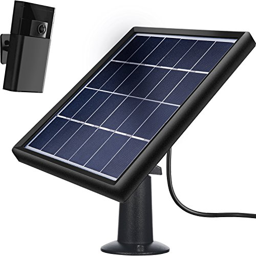TOODOO Solar Panel for Ring Stick up Cam (Only), Cable with Micro USB Connector (16.4 ft), Waterproof Charge Continuously, 5 V/ 3.5 W (Max) Output (NOT FIT for Ring Spotlight/Arlo Cam) No Camera by TOODOO