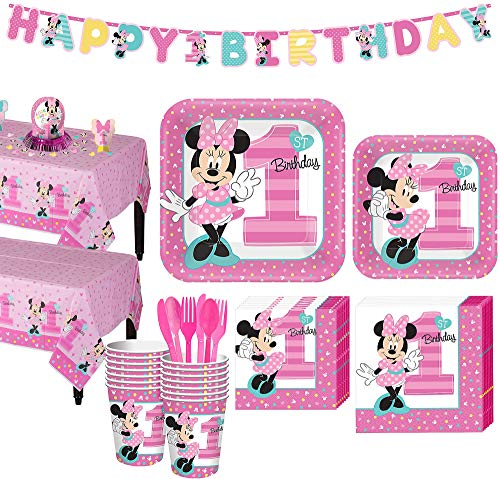 Party City 1st Birthday Minnie Mouse Party Kit for 16 Guests, Includes Table Covers, Table Decorating Kit and Banners ()