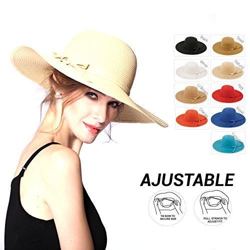 ANGELA & WILLIAM Women's UPF 50+ Wide Brim Braided Straw Sun Hat