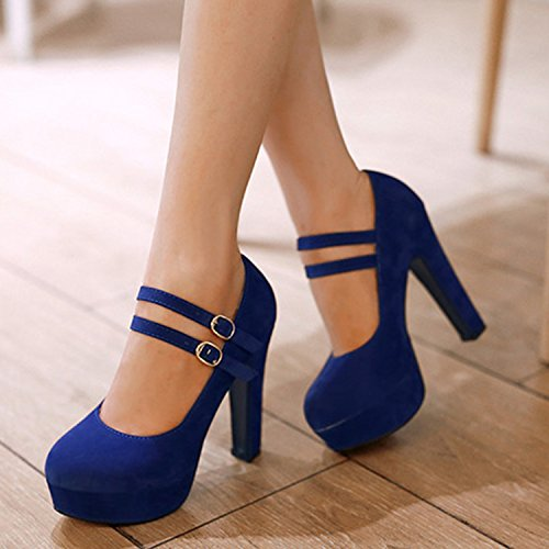 Azbro Mujer Zapato Bomba con Hebilla Tacón Alto Fornido Plataforma con Puntera Redonda Negro