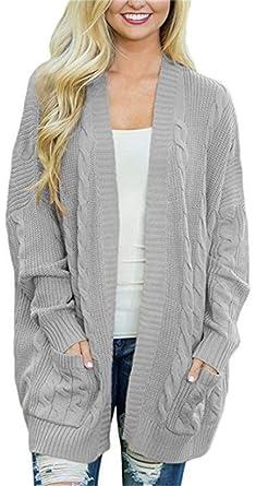 84d078f218b YOGLY Gilet Femme Long Basic Manches Longues Pull Classique Cardigan Tricot  Couleur Unie Veste Outwear pour