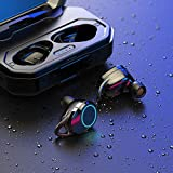 Harpi Twins V5.0 True Wireless Sports Headset in-Ear Waterproof Earbuds Mini Headphone Stereo Earphones with Large Charging Box (Black)