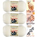 Bernat Softee Baby Yarn 3 Pack Bundle Includes 3 Patterns DK Light Worsted (White)