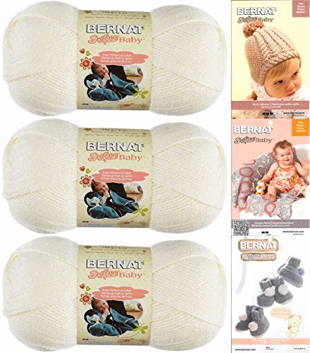 Bernat Softee Baby Yarn 3 Pack Bundle Includes 3 Patterns DK Light Worsted (3 Crochet Yarn)