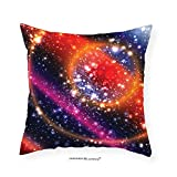 VROSELV Custom Cotton Linen Pillowcase Space Apocalyptic Cosmos Design Circular Striped Vibrant Galaxy Mystic Sky Solar System for Bedroom Living Room Dorm Multicolor 28''x28''