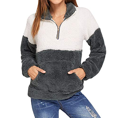 Todaies Women's Sweatshirt Warm Zip, Long Sleeve Fleece Leopard Fuzzy Hoodie Pullover (White, M)