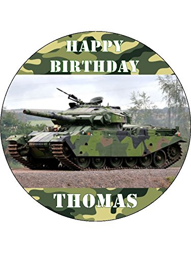 """ARMY TRUCK CAMOUFLAGE OWN PHOTO 7.5/"""" ROUND EDIBLE BIRTHDAY CAKE TOPPER MORE"""