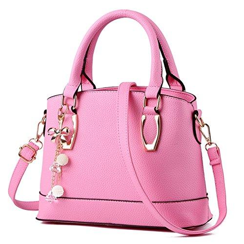 Cloudbag HB30118 PU Leather Handbag for Women,Trend Solid Shell Bag - 2016,Pink