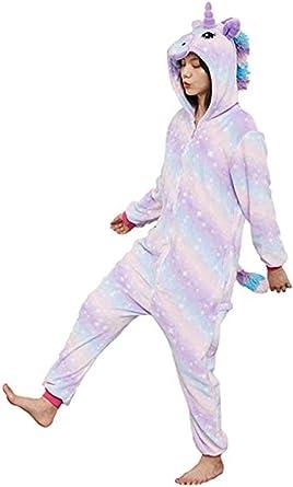 Pengmai Disfraz o pijama de unicornio para niños y jóvenes, unisex, de una sola pieza y con capucha, para dormir o para Halloween y otras ...