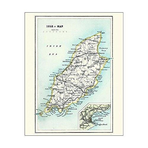 Media Storehouse 10x8 Print of Antique map, Isle of Man 19th Century (15231369) ()