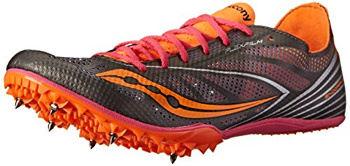 (Saucony Women's Endorphin MD4 Track Spike Racing Shoe,Silver/Orange/Pink,10 M US)