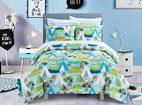 - Mainstay Kids Fun Bright Colorful Versatile Reversible Outdoor Style Teepee Tent Pattern Bedding Set, Full