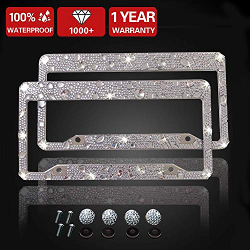 Luxury Handcrafted Bling Black Rhinestone Premium Stainless Steel License Plate Frame with Gift Box | 1000+ pcs Finest 14 Facets SS20 Black Rhinestone Crystal | Anti-Theft Screw Cap -Big ()
