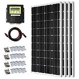 400 Watt Solar Premium Kit: 4pcs 100 Watt 12 Volt Monocrystalline Solar Panel with 20A MPPT Charge Controller