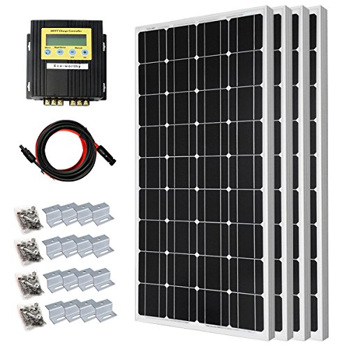 400 Watt Solar Premium Kit: 4pcs 100 Watt 12 Volt Monocrystalline Solar Panel with 20A MPPT Charge Controller by DC HOUSE