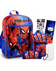 Marvel Spiderman Backpack With Lunch Box ~ 5 Pc Bundle With Spiderman School Bag, Lunch Bag, Water Bottle, Stickers And More (Spiderman School Supplies For Kids)
