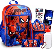 Marvel Spiderman Backpack With Lunch Box ~ 5 Pc Bundle With Spiderman School Bag, Lunch Bag, Water Bottle, Sti