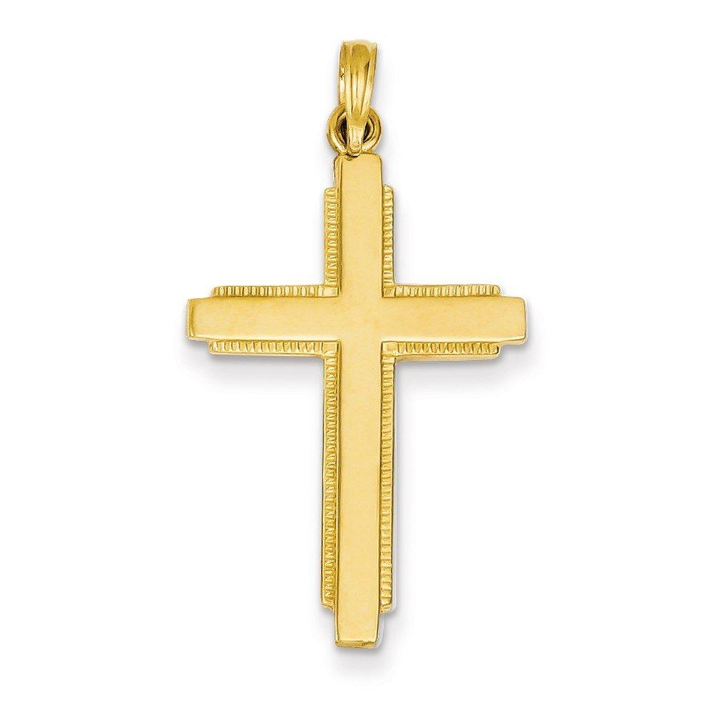 Lex & Lu 14k Yellow Gold Solid Cross Pendant LAL74414-Prime