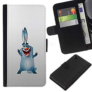"""Be-Star la tarjeta de CršŠdito Slots PU Funda de cuero Monedero caso cubierta de piel Para Sony Xperia Z2 D6502 ( Orejas de conejo para perros grandes de la sonrisa azul dibujo dibujos animados"""" )"""