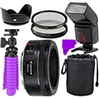 Professional Accessory Kit with Canon EF 50mm f/1.8 STM Lens & Professional Dedicated Digital TTL Flash + Bundle Package for Canon EOS 7D Mark II, 60D, 70D, 80D, 6D, 5D Mark III Digital SLR Cameras