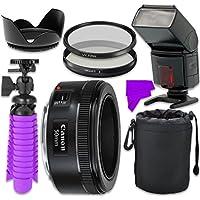 Professional Accessory Kit with Canon EF 50mm f/1.8 STM Lens & Professional Dedicated Digital TTL Flash + Bundle Package for Canon EOS 7D Mark II, 60D, 70D, 80D, 6D, 5D Mark III Digital SLR Cameras