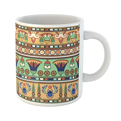Emvency Funny Coffee Mug Flower Egyptian Papyrus Symbols Old Scarab Ancient Abstract Antique 11 Oz Ceramic Coffee Mug Tea Cup Best Gift Or Souvenir