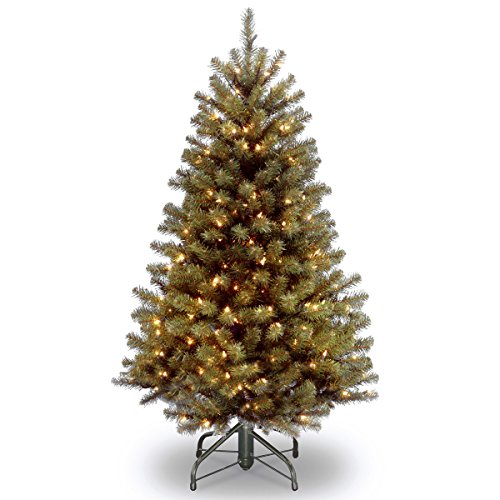 (National Tree 4.5 Foot North Valley Spruce Tree with 200 Clear Lights, Hinged (NRV7-300-45))