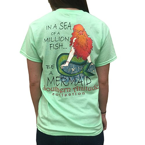 (Southern Attitude in A Sea of A Million Fish Be A Mermaid Mint Women's Short Sleeve T-Shirt (Large))