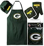 Green Bay Packers (Apron & Oven Mitt Pot Holder), Bonus Bottle Openers, Barbeque Apron and Chef's Hat , NFL Licensed