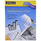 Apollo Plain Paper Copier Film without Sensing Stripe, 8.5 x 11 Inches, Clear Sheet and Black Image, 100 Sheets per Box (VPP100CE)