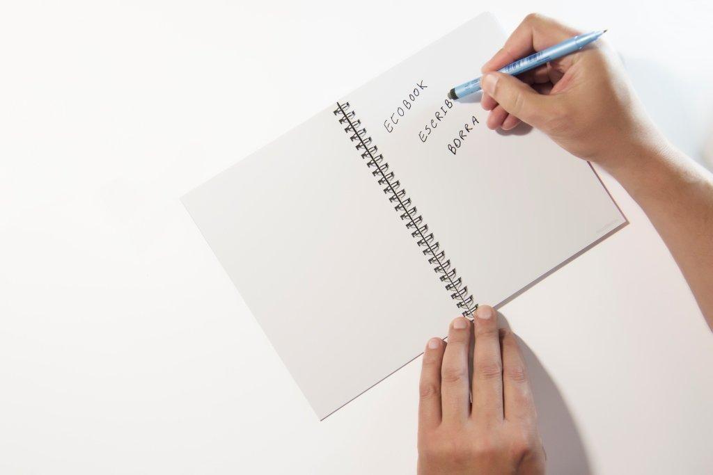 InfiniteBook (By EcoBook) - Cuaderno reutilizable (A5, liso, espirales, incluye bolígrafo negro), azul
