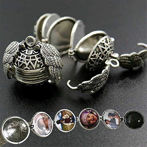 Junshion Expanding 5 Photo Locket Necklace Silver Ball Angel Wing Pendant Memorial Gifts